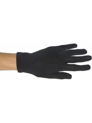 Child's Black Polyester Costume Gloves-COSTUMEISH