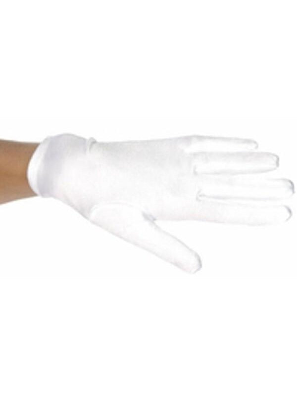 Child's White Polyester Costume Gloves-COSTUMEISH