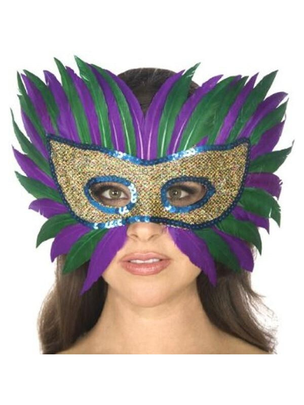 Adult Mardi Gras Feather Eye Mask-COSTUMEISH