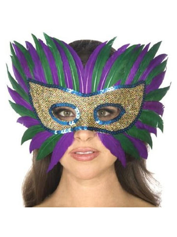 Adult Mardi Gras Feather Eye Mask