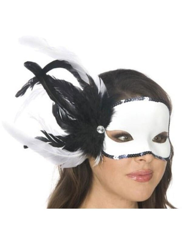 Adult Black and White Feather Carnival Eyemask-COSTUMEISH