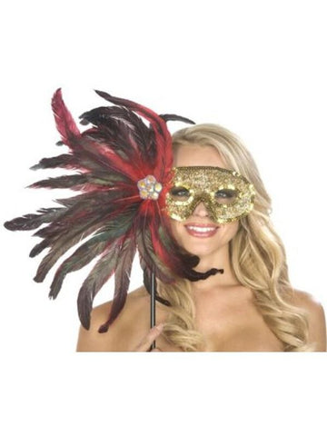 Adult Black and Red Feather Carnival Eyemask
