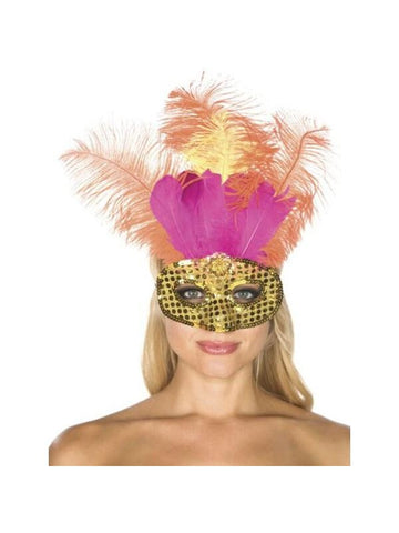 Adult Gold Sequin Carnival Eye Mask with Feathers