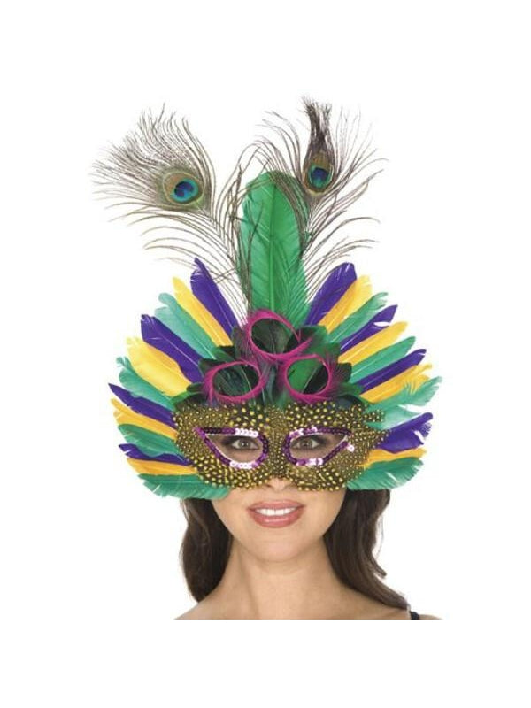Adult Mardi Gras Peacock Feather Mask-COSTUMEISH