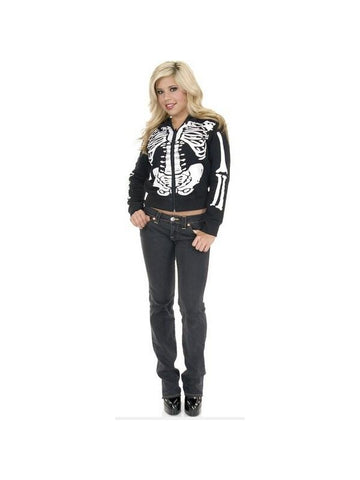 Adult Women's Black And White Skeleton Hoodie-COSTUMEISH