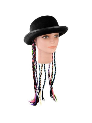 Adult Felt Derby Hat With Braids-COSTUMEISH