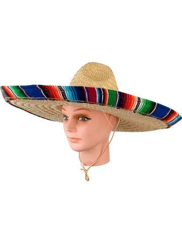 Adult Mexican Sombrero Hat With Serape Band-COSTUMEISH