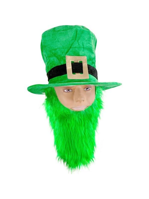 Green Velvet Top Hat With Beard-COSTUMEISH