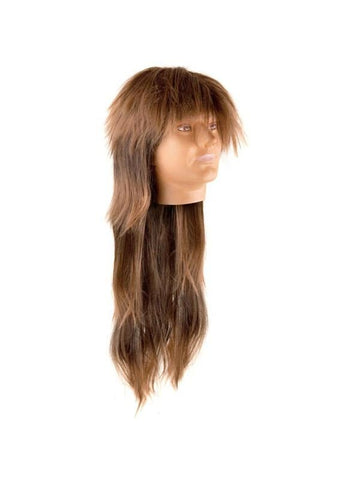 Long Brown Heavy Metal Rock Wig