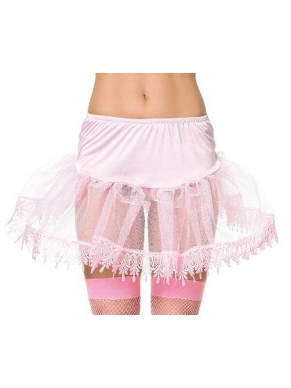 Adult Pink Teardrop Lace Petticoat-COSTUMEISH
