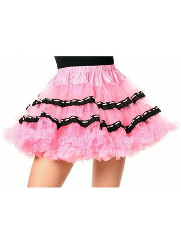 Pink Soft Tulle Petticoat with Black Trim