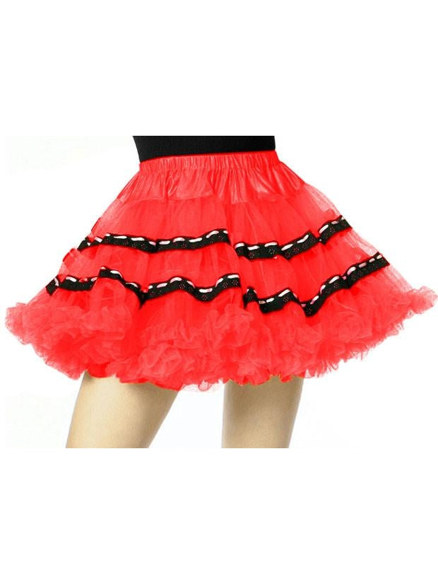 Red Soft Tulle Petticoat with Black Trim-COSTUMEISH
