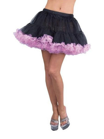 Black Double Layer Tulle Petticoat with Pink Trim-COSTUMEISH