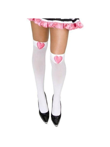 White Opaque Nylon Stockings with Pink Hearts