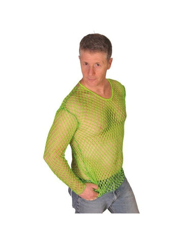 Mens Neon Green Fishnet Shirt