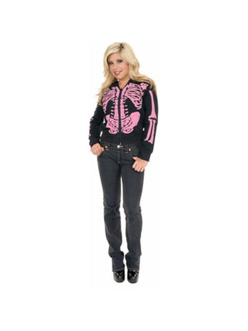 Adult Women's Black & Pink Skeleton Hoodie