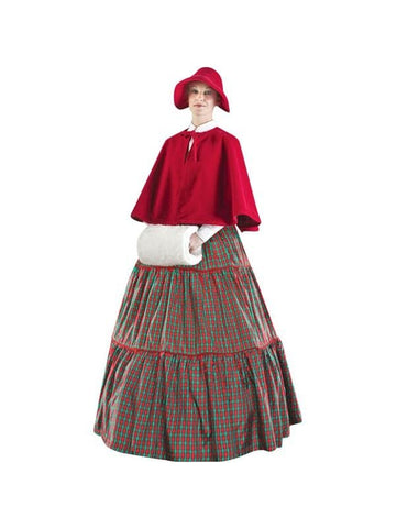 Adult Plus Size Charles Dickens Christmas Carol Checkered Dress Theater Costume