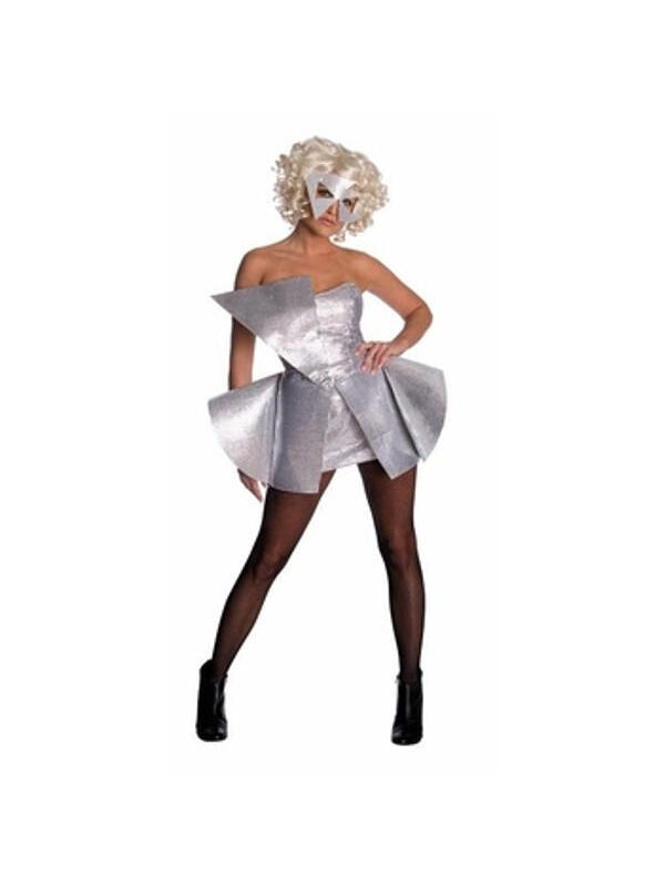 Adult Lady Gaga Silver Sequin Dress-COSTUMEISH