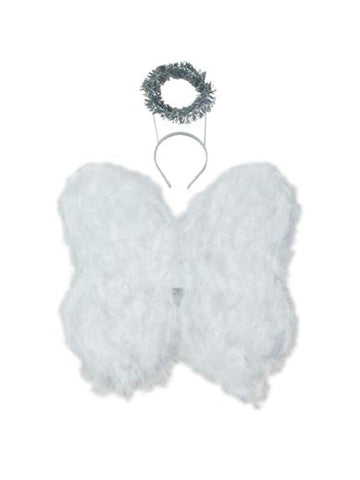 Child's White Angel Wings with Halo-COSTUMEISH