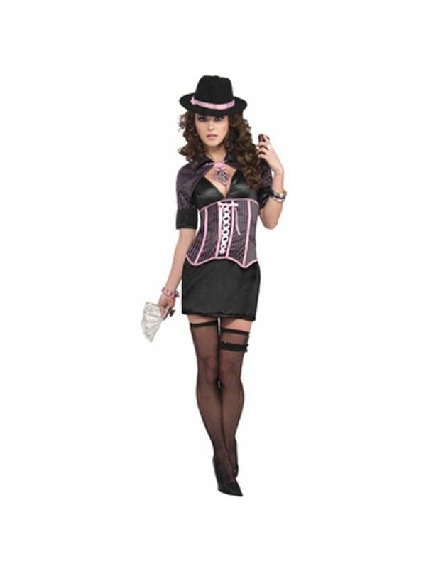 Adult Sexy Corset Gangster Costume-COSTUMEISH