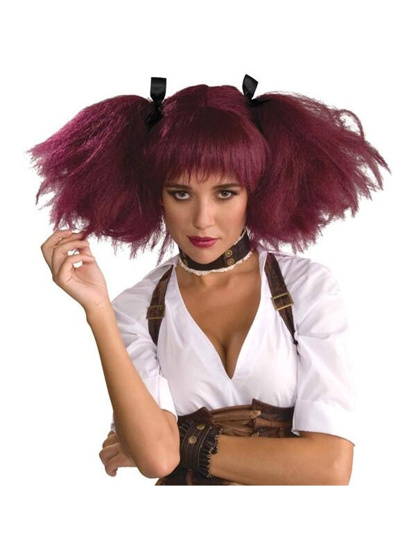 Adult Burgundy Steampunk Wig-COSTUMEISH
