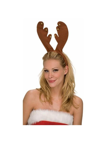 Brown Reindeer Headband with Bells