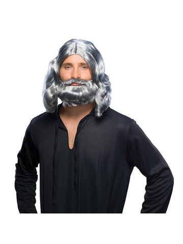 Grey Jesus Wig and Beard Set-COSTUMEISH