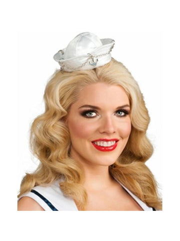 White & Silver Mini Sailor Hat-COSTUMEISH