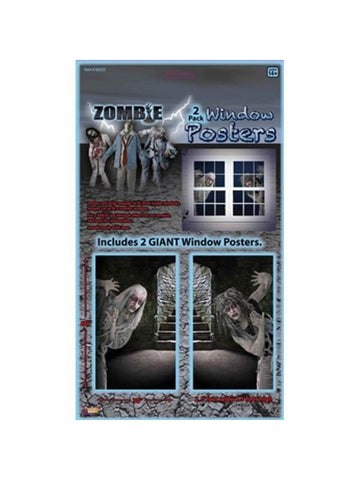 Zombie Halloween Window Poster