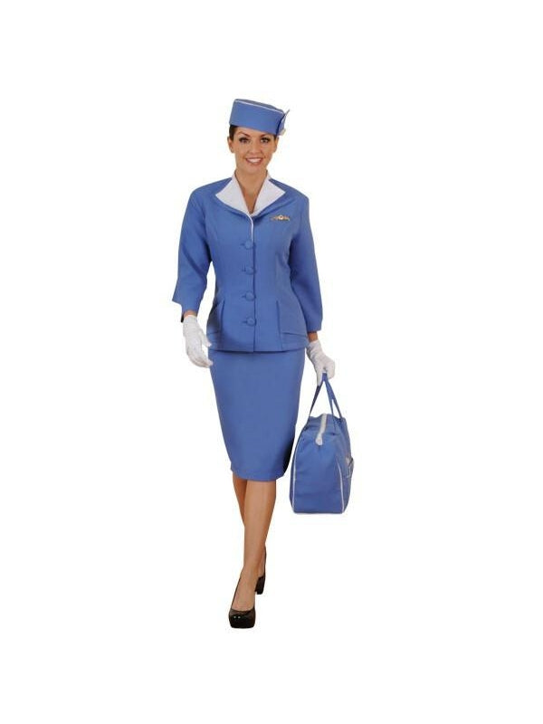 Adult 60's Flight Attendant Stewardess Theater Costume-COSTUMEISH