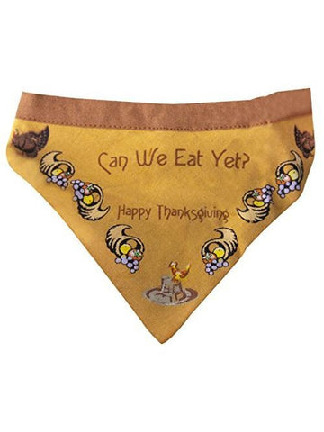"""Can We Eat Yet?"" Thanksgiving Dog Bandanna for Large Dogs-COSTUMEISH"