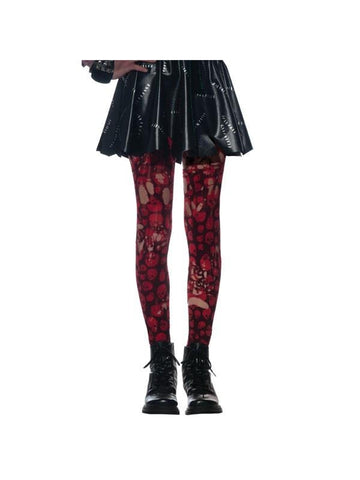 Red Skulls Zombie Tights-COSTUMEISH
