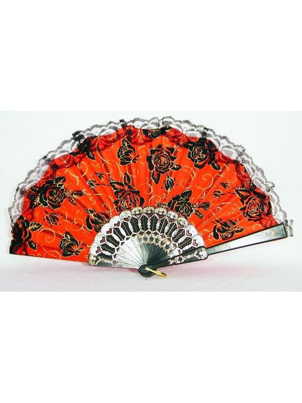 Day of the Dead Fan With Lace Trim-COSTUMEISH