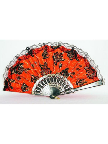 Day of the Dead Fan With Lace Trim