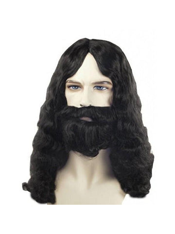 Men's Quality Black Biblical Jesus Style Wig and Beard-COSTUMEISH