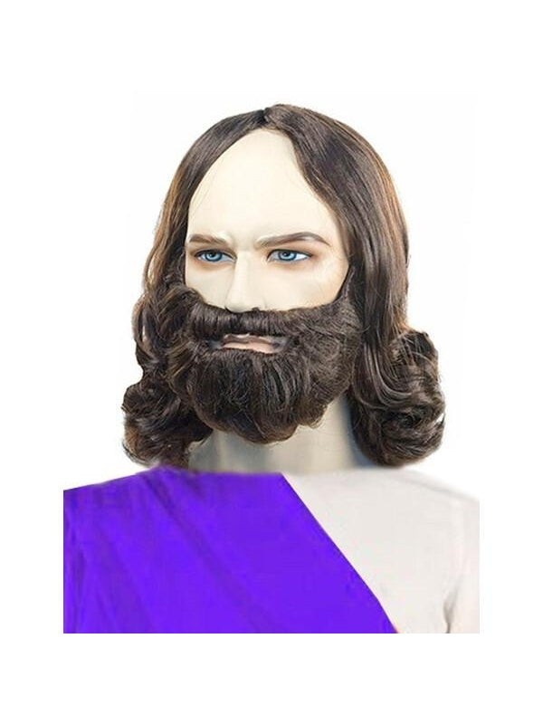 Men's Quality Brown Biblical Jesus Wig and Beard Set-COSTUMEISH