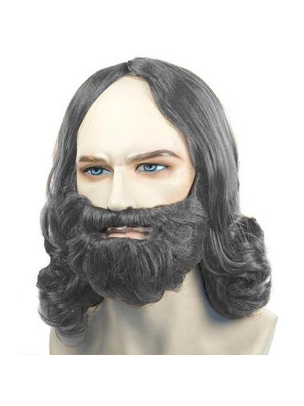 Men's Grey Biblical Wig and Beard Set-COSTUMEISH