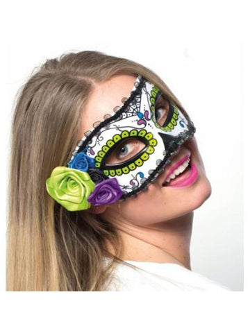Day of Dead Mask with Flower Trim-COSTUMEISH