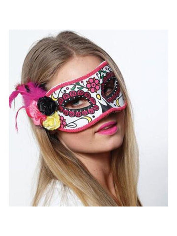 Day Of Dead Mask W/Flower Trim-COSTUMEISH