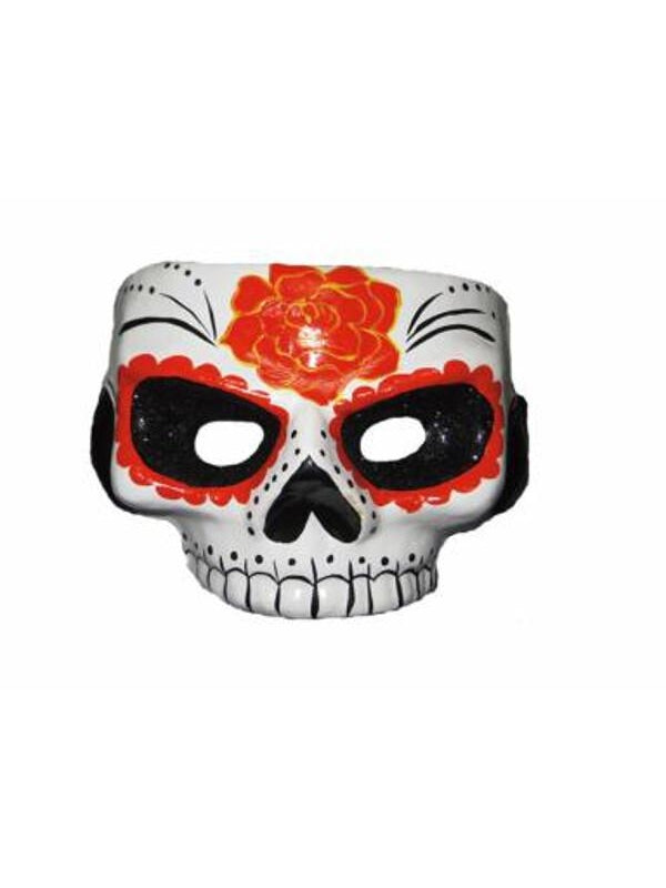 Day Of Dead Mask W/Glitter Black Eyes-COSTUMEISH