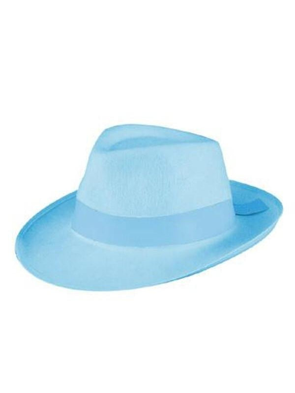 Light Blue Fedora Gangster Hat-COSTUMEISH