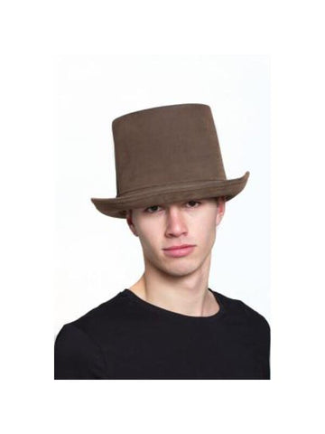 "Brown ""Leatherlike"" Steampunk Top Hat-COSTUMEISH"