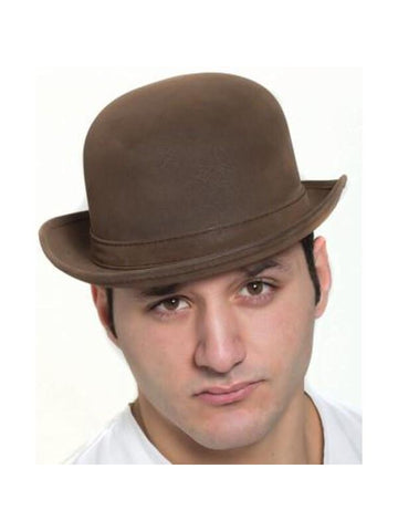 "Brown ""Leatherlike"" Steampunk Derby Hat-COSTUMEISH"