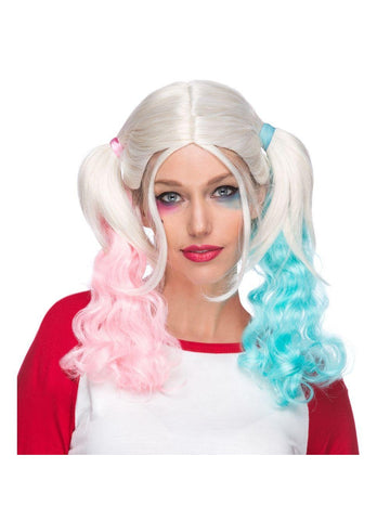 Pink & Blue Harlequin Ponytail Wig-COSTUMEISH