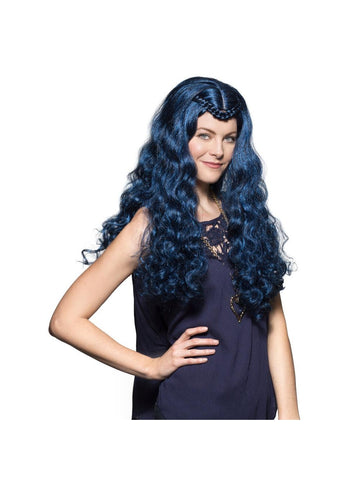 Women's Evie Long Blue Wig-COSTUMEISH