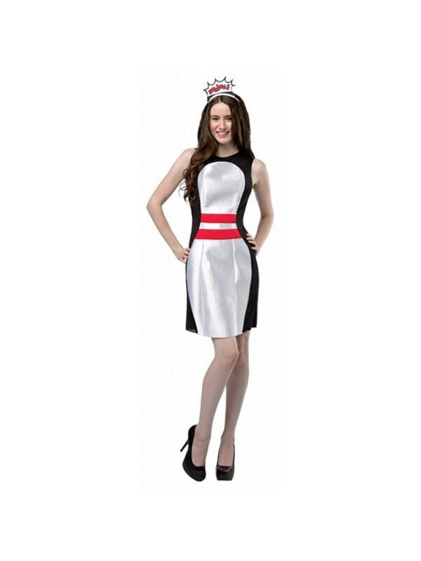 Adult Bowling Pin Dress Costume-COSTUMEISH