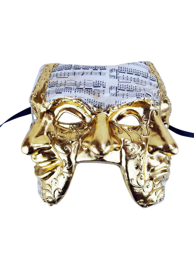 Gold Venetian Triple Face Mask-COSTUMEISH