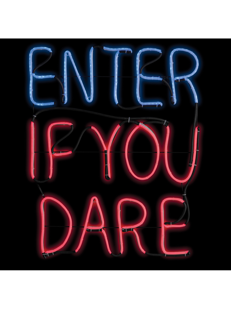 """Enter If You Dare"" Halloween Light-Up Yard Sign-COSTUMEISH"