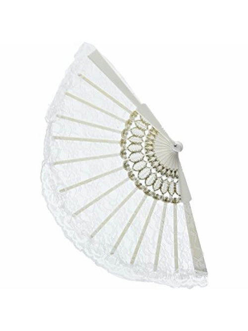 White Lace Fan-COSTUMEISH