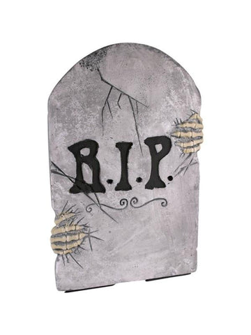 Fake Tombstone with Skeleton Hands